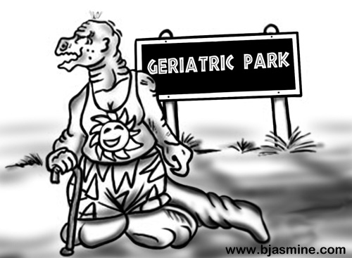 Geriatric Park Cartoon by Brandi Jasmine, All Rights Reserved