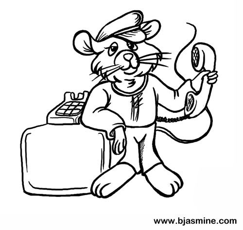 Phone and Mouse Cartoon by Brandi Jasmine, All Rights Reserved