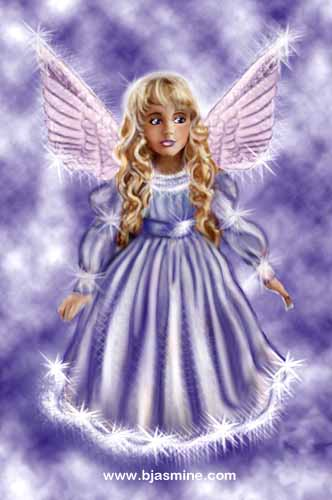 Purple Angel Digital Illustration by Brandi Jasmine, All Rights Reserved
