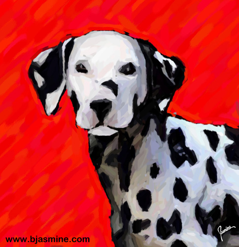 Dalmatian Digital Illustration by Brandi Jasmine, All Rights Reserved