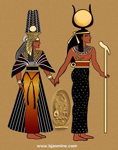 Isis & Nefertiri Digital Illustration by Brandi Jasmine, All Rights Reserved
