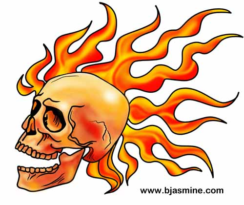 Flaming Skull Digital Illustration by Brandi Jasmine, All Rights Reserved