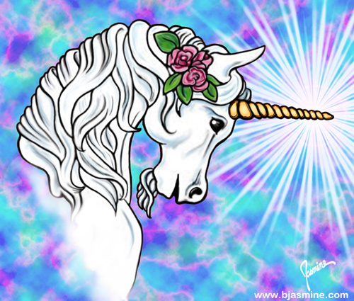 Unicorn Digital Illustration by Brandi Jasmine, All Rights Reserved
