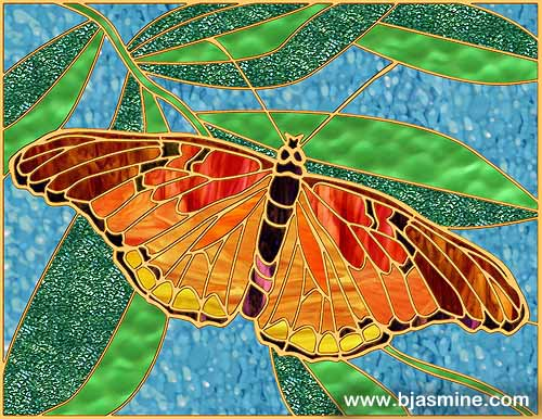 Faux Stained Glass Butterfly by Brandi Jasmine, All Rights Reserved