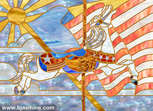 Faux Stained Glass Carousel Horse by Brandi Jasmine, All Rights Reserved