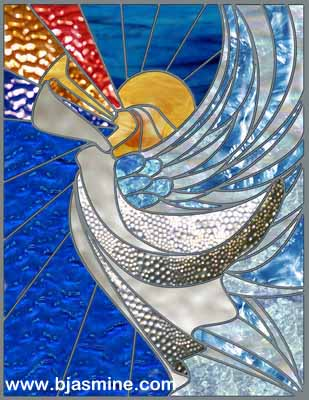 Faux Stained Glass Winter Angel by Brandi Jasmine, All Rights Reserved