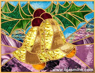 Faux Stained Glass Christmas Bells by Brandi Jasmine, All Rights Reserved