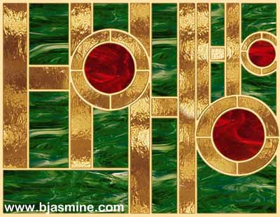Faux Stained Glass Christmas Ho Ho Ho by Brandi Jasmine, All Rights Reserved