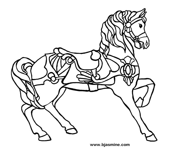 Carousel Horse Line Drawing by Brandi Jasmine, All Rights Reserved