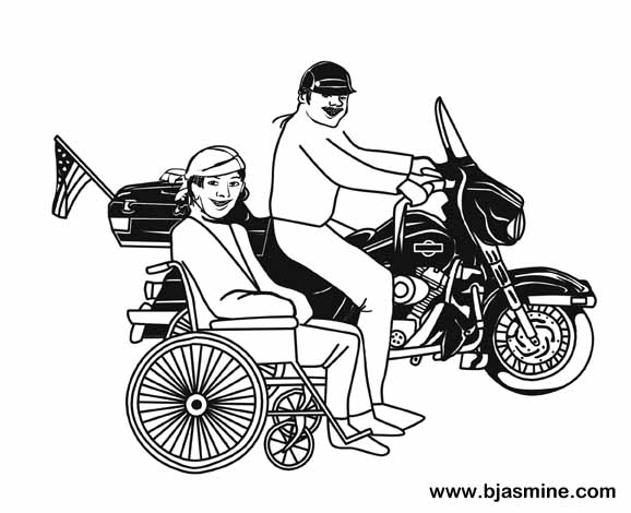 Ability Motorcycle Line Drawing by Brandi Jasmine, All Rights Reserved