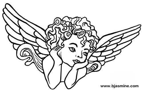 Cherub Line Drawing by Brandi Jasmine, All Rights Reserved