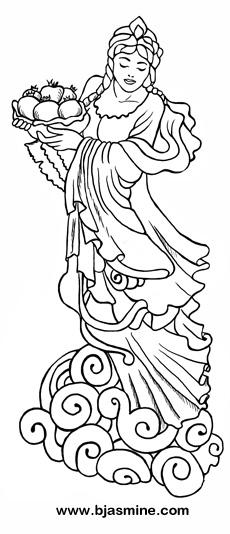 Quan Yin Goddess Line Drawing by Brandi Jasmine, All Rights Reserved