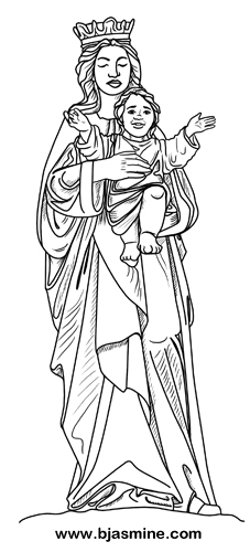 Mary and Jesus Line Drawing by Brandi Jasmine, All Rights Reserved