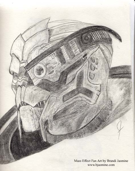 Garrus Pencil Sketch by Brandi Jasmine, All Rights Reserved