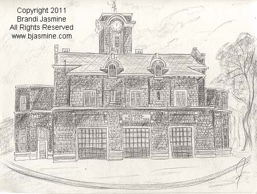 Welland Firehall Pencil Sketch by Brandi Jasmine, All Rights Reserved