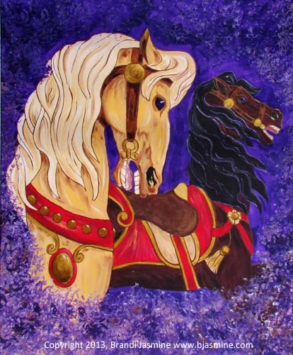 Carousel Breezes - Painting of Two Carousel Horses on a Purple Background