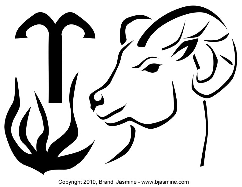 Aries Zodiac Pumpkin Carving Pattern