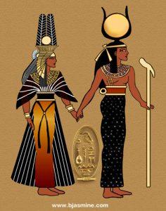 Isis and Nefertiri Egyptian Digital Painting by Brandi Jasmine