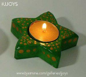Green Prosperity Star Neo-selenite Tea Light Holder