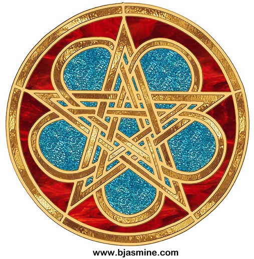 Faux Stained Glass Celtic Pentacle by Brandi Jasmine, All Rights Reserved