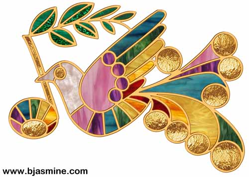 Faux Stained Glass Peace Dove by Brandi Jasmine, All Rights Reserved