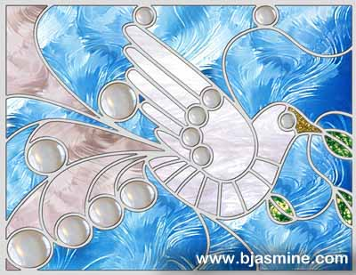 Faux Stained Glass Christmas Dove by Brandi Jasmine, All Rights Reserved