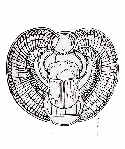 Egyptian Scarab Line Drawing by Brandi Jasmine, All Rights Reserved