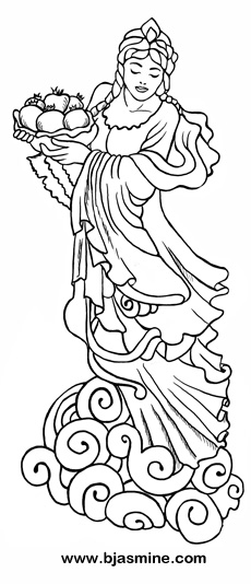 Quan Yin Goddess Line Drawing by Brandi Jasmine, All Rights Reserved
