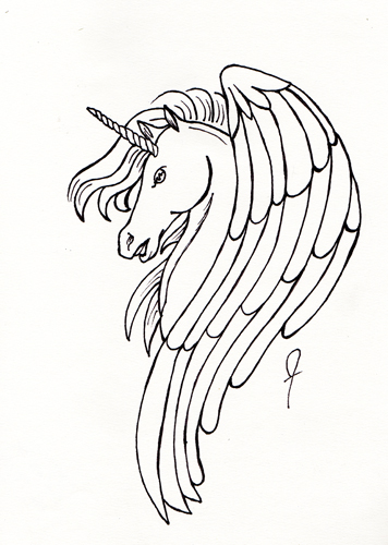 Pegacorn Line Drawing by Brandi Jasmine, All Rights Reserved