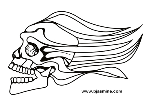 Zooming Skull Line Drawing by Brandi Jasmine, All Rights Reserved