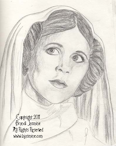 Princess Leia Fan Art Pencil Sketch by Brandi Jasmine, All Rights Reserved