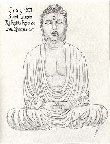 Buddha Pencil Sketch by Brandi Jasmine, All Rights Reserved