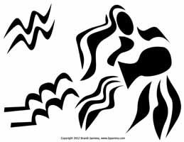 Aquarius Zodiac Jack-O-Lantern Pattern