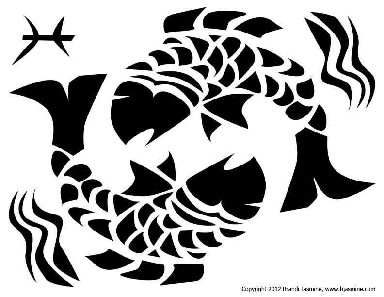 Pisces Zodiac Pumpkin Carving Pattern