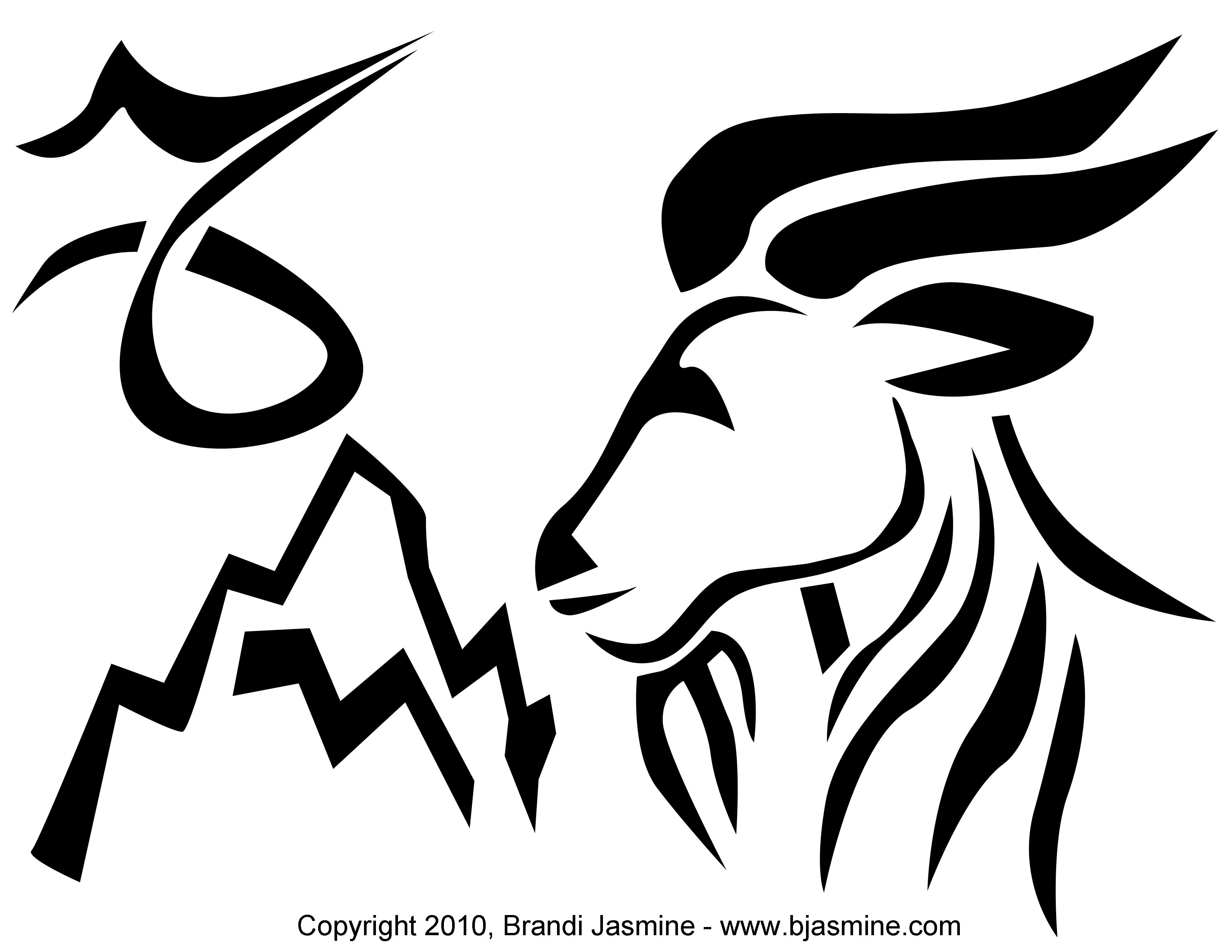 Capricorn Zodiac Pumpkin Carving Pattern