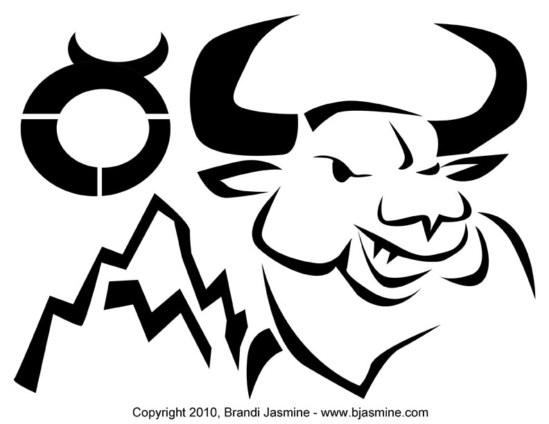 Taurus Zodiac Pumpkin Carving Pattern